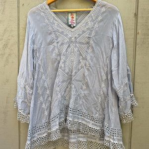 Johnny Was V-Neck Tunic Top Blue